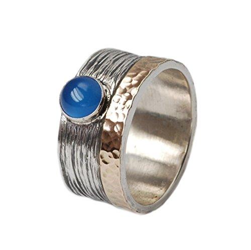 Blauer Achat Ring 925er Silber mit Umrandung aus 375er Gold Größen 60 (19.1)