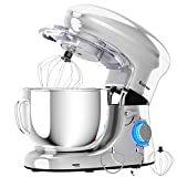 COSTWAY Stand Mixer, 660W Electric Kitchen Food Mixer with 6-Speed Control, 6.3-Quart Stainless Steel Bowl, Dough Hook, Beater, Whisk (Silver-update)