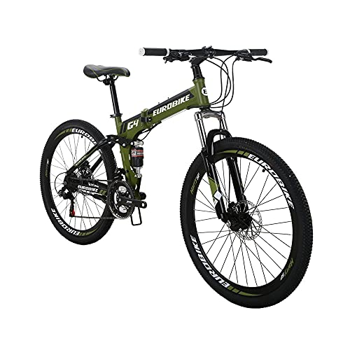 SD G4 26 Inch Adult Folding Bike Regular Spoke Wheel Mechanical Disc Brake Mountain Bikes 21 Speed Gears Suspension Foldable Bicycle ArmyGreen