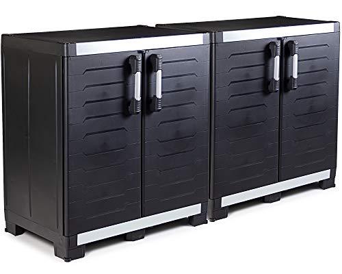Ondis24 2x Werkstattschrank Powercab XXL schwarz, 89x54x99cm, Werkzeugschrank Metall & Kunststoff,...