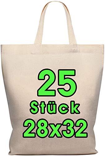 Lot de 25 sacs en coton 28 x 32 cm - Sac de rangement pour pharmacie - Sac de transport - Sac de transport - Sac cadeau - Certifié Öko-Tex - Sac en tissu non imprimé court pour peindre et imprimer