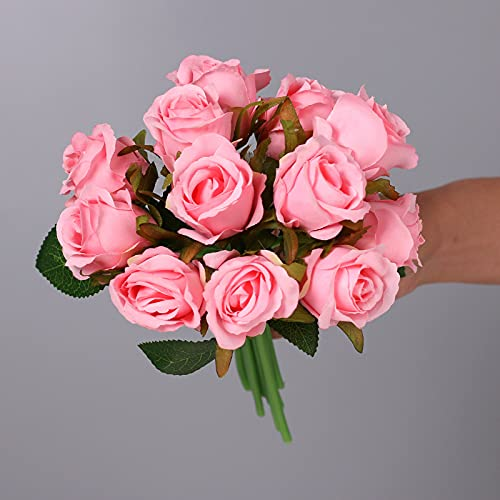 JJZXD 12 szt. sztuczne kwiaty róża, jedwabne róże wesele 1 bukiet dekoracja dom biuro przyjęcie aranżacje (kolor: różowy)