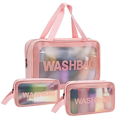 Pochette per trucchi donna,VVEMERK 3 Pezzi Borse Cosmetiche da Viaggio Trasparente PVC Impermeabile Borsa da Toilette Trousse da viaggio donna