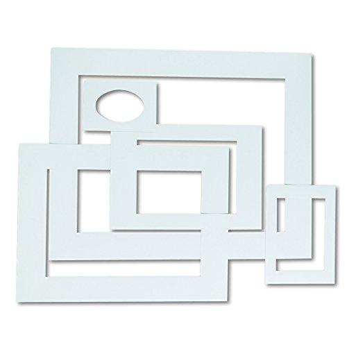 Pacon 72500 Pre-Cut Mat Frames for Photo/Art, 12 Mats/5 Asst Sizes, White (Pack of 60)
