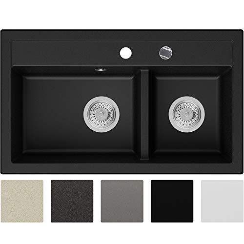 Granitspüle Schwarz 74 x 44 cm, Spülbecken + Siphon Automatisch, Küchenspüle ab 80er Unterschrank in 5 Farben mit Zubehör und Antibakterielle Varianten, Einbauspüle von Primagran
