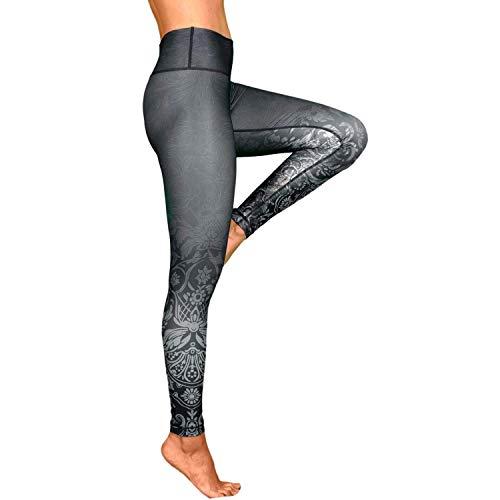 Hochwertige High Waist Yogahose für Frauen - Black Rose - Haltbar und Strapazierfähige Womens Compression Leggings für Yoga, Pilates und Fitness.