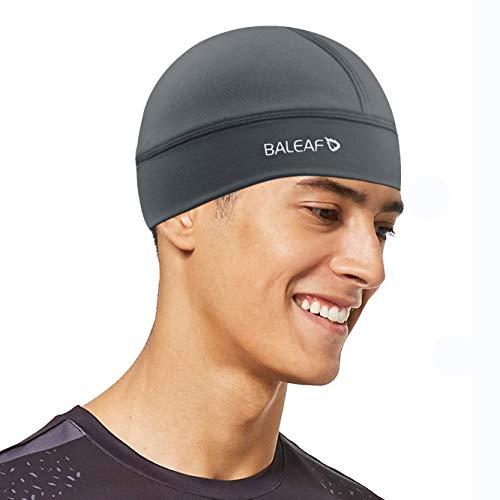 BALEAF Cooling Skull Cap for Men Helmet Liner Sweat Wicking Cycling Motorcycle Biking Running Football Head Beanie UPF 50+ Dark Grey