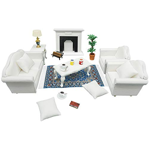 1:12 Dollhouse Furniture - Deluxe Living Room Play Set (19pcs) - Sofa, Armchairs, Coffee Table, End Table, Fireplace, Area Rug and Others - Suitable for Dolls Above 3 inches to 6 inches (White)
