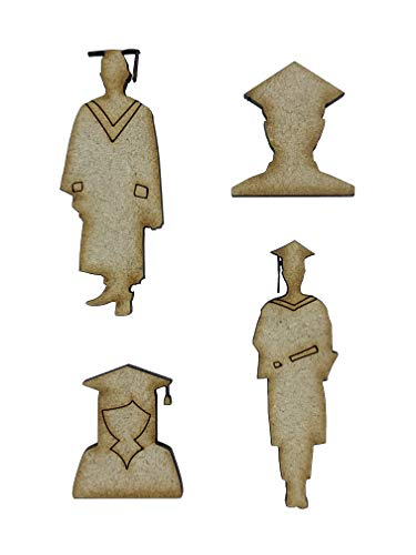 De Crafty Koe 12x Afstuderen Universiteit Jurk Hoed 3 cm Hout Craft Embelishments Laser Gesneden Vorm MDF