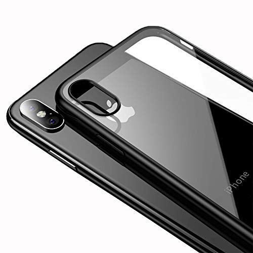 LAYJOY Funda iPhone XS MAX, Carcasa Ligera Silicona Negro Suave TPU Bumper y Transparente Duro PC Case Anti-Arañazos, Anti-Golpes Caso Cover 6.5 Pulgadas - Clear