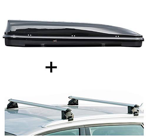Dachbox VDPFL460 460Ltr schwarz glänzend + Dachträger CRV107A kompatibel mit BMW Serie 5 Touring (F11) (5 Türer) 2010-2017