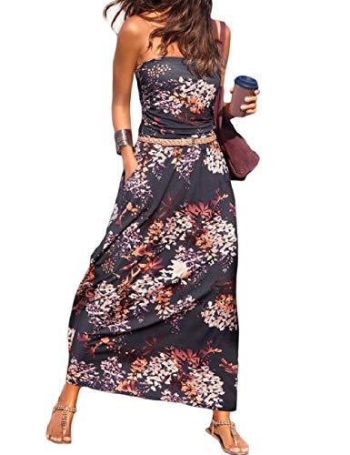 SEBOWEL Damen Maxikleid Sommer Boho Kleider Lang Bandeau Ärmelloses Sommerkleid Strandkleider Elegante Freizeitkleid CocktailKleider Abendkleid (S, Violett)