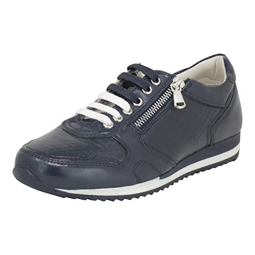 Cafe Moda Damen Sneaker Laila Leder Sneaker aus geprägtem Echtleder mit Schnürung und Reißverschluss (38 EU, dunkelblau)