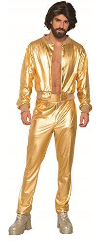 shoperama Metallic Gold Herren Anzug glänzend Gr. M/L Disco Rapper Herren-Kostüm Trash 70er 80er Jahre Pimp Festival