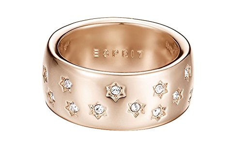 ESPRIT Damen-Ring JW52885 ROSE Messing teilvergoldet Zirkonia transparent Gr. 54 (17.2)-ESRG02691C170