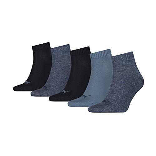 PUMA Quarter Plain Socks (5 Pack) Calcetines, Azul Vaquero, 43-46 (Pack de 5) Unisex Adulto