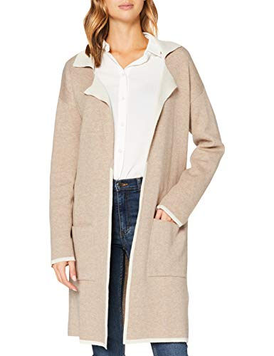 Mavi Damen Long Cardigan Strickjacke, Almond-Irish Cream, M