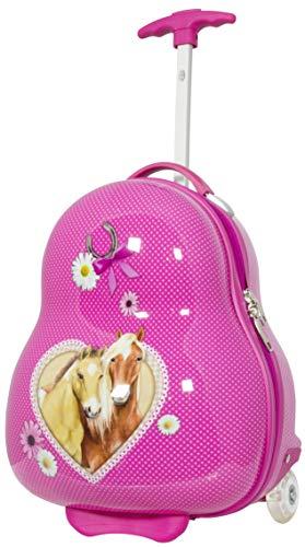 Trendyshop365 Kinder-Koffer Hartschale Pferde 41 Zentimeter 16 Liter 2 LED-Räder Handgepäck