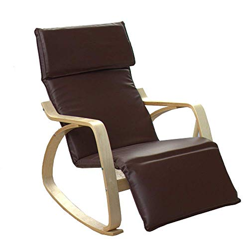 GNLIAN YF-CHEN Chair Rocking Chair Folding Rocking Chair Cushion Lounge Chair Seat Cushion Leisure Chair Soft Backrest for Home Or Office Relax Chair (Color : Brown, Size : 160x67x57cm)