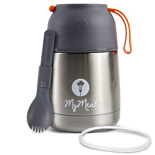 MyMeal Thermobehälter für Essen 450ml, Warmhaltebehälter Essen, Thermo Lunchbox, Thermobecher Essen, Thermobecher Babybrei, Edelstahl mit Löffel&GRATIS Ersatzdichtung, 100% Auslaufsicher