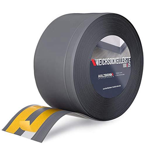 HOLZBRINK Weichsockelleiste selbstklebend Graphitgrau Knickleiste, Material: PVC, 100x25mm, 25 Meter