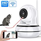 Home Security Camera, Pet Dog Camera with Interactive Laser Toy Wireless Baby Monitor FHD 1080P WiFi Cat Camera 360° Indoor Security Camera 160°Wide Angle 2-Way Audio Night Vision Motion Detection