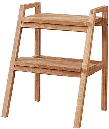 DNSJB - Taburete multifuncional de doble capa de almacenamiento para el hogar, portátil, respetuoso con el medio ambiente, madera maciza, 2 escalones