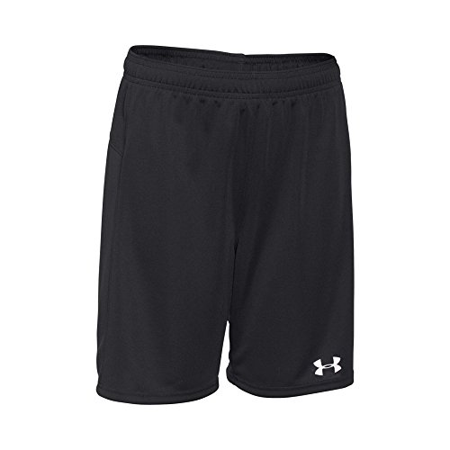 Under Armour Boys' Golazo Soccer Shorts, Black (001)/White, Youth Large