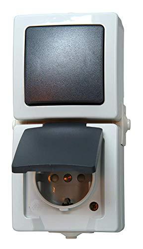 Kopp 138556008 Nautic Steckdose und Schalter Kombination für Feuchtraum, grau