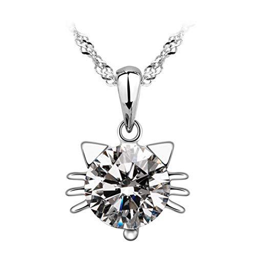 KHDDBNGDS Halskette Modeschmuck Süß Für Katze Cabochon Anhänger Halskette Handgemachte Überzogene Kette Halskette Liebe Halskette für Frauen, Kristall Halskette