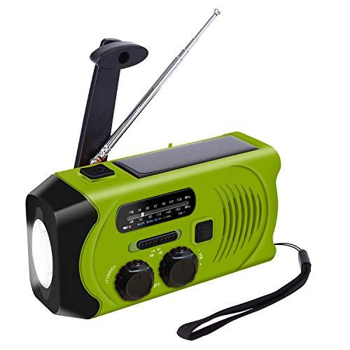 Kurbelradio Outdoor Radio mit 2000mAh Batterie, Topsics Solar Radio mit kurbel, Die Funktion von Taschenlampe/SOS Alarm, Notfall Klein Radio für Outdoor Camping -Grün