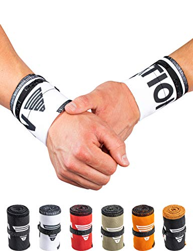 GORNATION Muñequeras Gym Wrist Wraps Venda Muñeca por Calistenia/Calisthenics, Fitness, Crossfit, Entrenamiento de Peso Corporal Hombre y Mujer (Premium White)