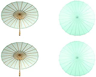 Koyal Wholesale 32-Inch Paper Parasol In Bulk 48-Pack Oriental Umbrella for Wedding, Party Favors, Summer Shade Green