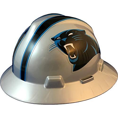 "MSA 10194746 NFL V-Gard Full Brim Hard Hat, Carolina Panthers, Standard (61 ⁄2 – 8"")"