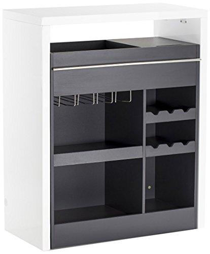 Soliving Drink Bar Laqué/Melamine Blanc/Gris MDF, 90 x 45 x 110 cm