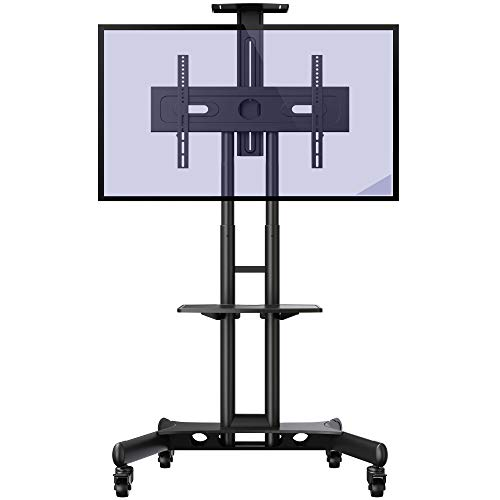 Invision GT1200 Mobile TV Stand on Wheels For 32-65 Inch TVs | Anti Tip & Ultra Stable TV Trolley | Heavy Duty Non Marking Castor Wheels | VESA 600x400 Bracket [GT1200]