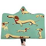 Mantas para sofá y cama,resistentes a las arrugas,anti-fade,Impresión en 3D perro lindo con capucha manta capucha manta engrosamiento manta hogar manta niños siesta manta, 130X150 CM