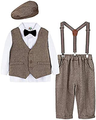 Vintage Style Children's Clothing: Girls, Boys, Baby, Toddler ZOEREA Baby Boy Outfits Set 3pcs Long Sleeves Gentleman Jumpsuit & Vest Coat & Berets Hat with Bow Tie £25.99 AT vintagedancer.com