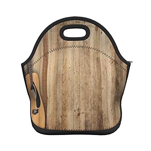 ADONINELP Bolsa de almuerzo con aislamiento para mujeres y hombres, tabla de madera gris para guitarra, con aislamiento térmico, resistente al agua, bolsa de almuerzo, enfriador de alimentos, bolsa d