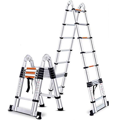 Alfombrilla antideslizante de 20 pies de aluminio Telesperación de aluminio Escalera de extensión 330 Lbs Max Capacidad A-Frame Ligero Portátil Portátil Placo Múltiple (Tamaño: 14FT) FDWFN