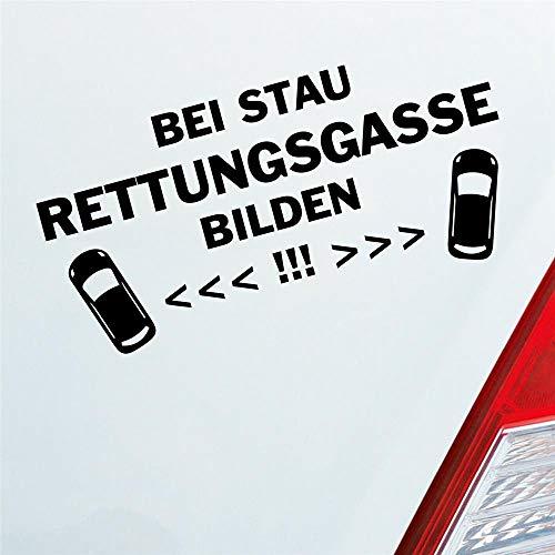 Bei Stau Rettungsgasse bilden! Feuerwehr Leben retten Auto Aufkleber Sticker Heckscheibenaufkleber