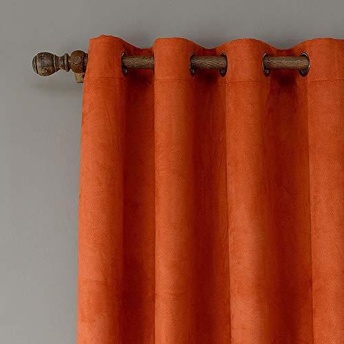KRUIHAN Tende Oscuranti in Velluto Termiche Isolanti - Tendine da Sole con Occhielli Tendaggi Tenda Oscurante per Casa Finestre e Balconi Moderna Camera da Letto 1 Pannelli (Arancione,132X160 cm)