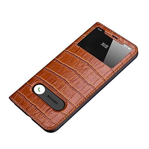 GHC Custodie & Cover Per iphone 11 Pro /11 Pro Max, Flip Case Fundas Finestra View Custodia Custodia, Magnetico Cassa In Vera Pelle Per iphone 11 (Colore: Marrone, Materiale: Per 11 Pro Max)