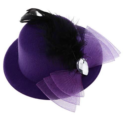 Sharplace Pince à Cheveux Enfants Filles Chapeaux Fascinators Bébé Mini Chapeau Haut - Style 3-Violet