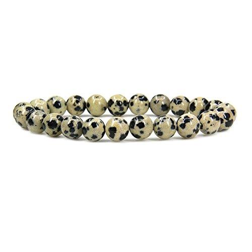 "Amandastone Natural Dalmatian Jasper Gemstone 8mm Round Beads Stretch Bracelet 7"" Unisex"