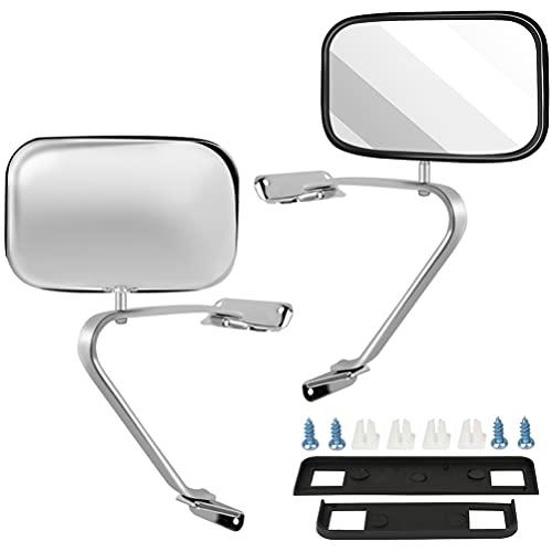 ECCPP Manual Side View Mirrors Chrome Pair Set for 80-96 For Ford For F-Series For F150 For F250 For F350 Bronco Pickup Truck SUV