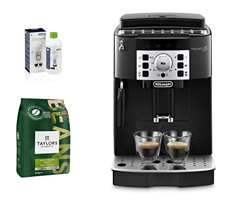 De'Longhi Magnifica S, Automatic Bean to Cup Coffee Machine + DESCALER ECODECALK DLSC500 Bottle 500ml (Pack of 1) + Taylors of Harrogate Rich Italian Coffee Beans, 454 g, Pack of 3
