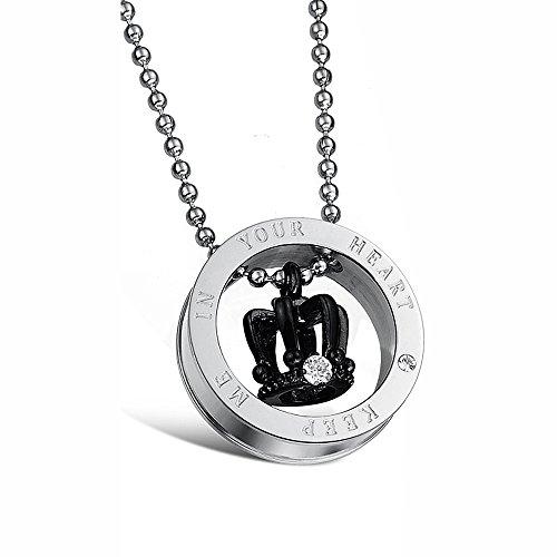 Ubeauty1999 - Juegos de 2 collares con colgante de corona de acero inoxidable con texto en inglés «Keep me in your heart», para él y para ella, perfecto como regalo para San Valentín