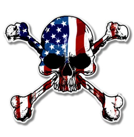 "American Flag Skull with Crossbones - 3"" Vinyl Sticker - for Car Laptop I-Pad Phone Helmet Hard Hat - Waterproof Decal"