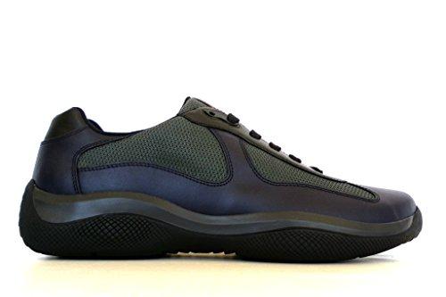 Prada sneakers scarpe uomo in tessuto e pelle 4E2043 1OBP F095J blu antracite